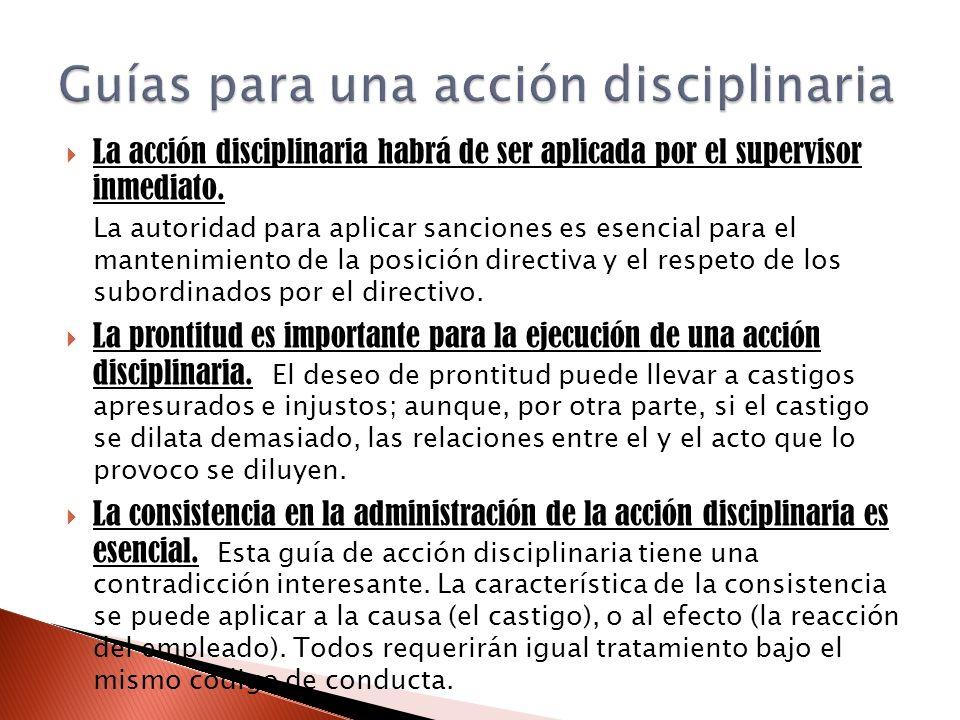 Guías para una acción disciplinaria