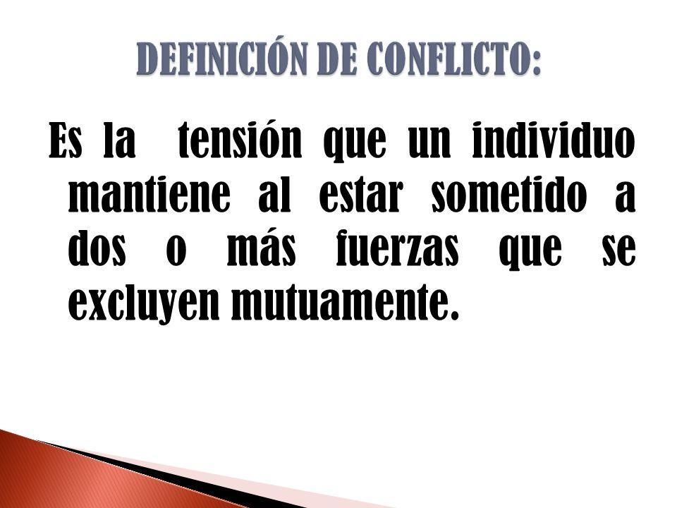 DEFINICIÓN DE CONFLICTO: