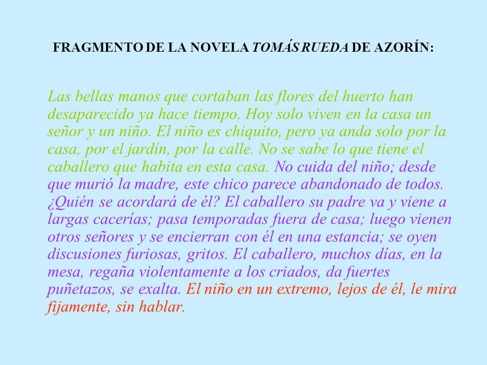 FRAGMENTO DE LA NOVELA TOMÁS RUEDA DE AZORÍN: