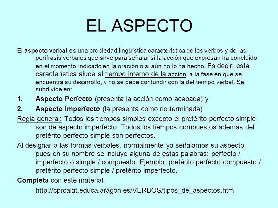 EL ASPECTO Aspecto Perfecto (presenta la acción como acabada) y