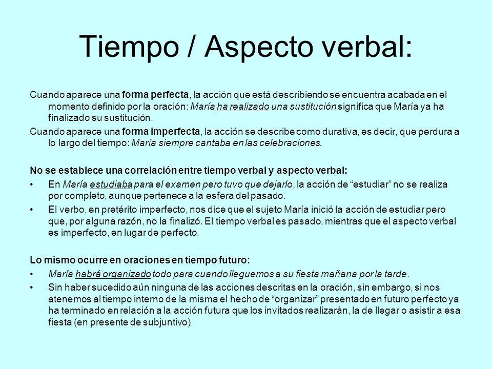 Tiempo / Aspecto verbal:
