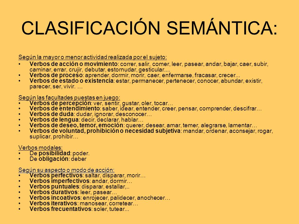 CLASIFICACIÓN SEMÁNTICA: