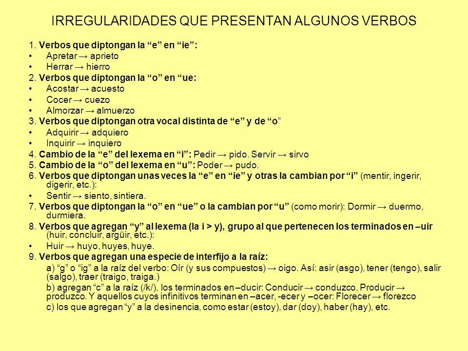 IRREGULARIDADES QUE PRESENTAN ALGUNOS VERBOS