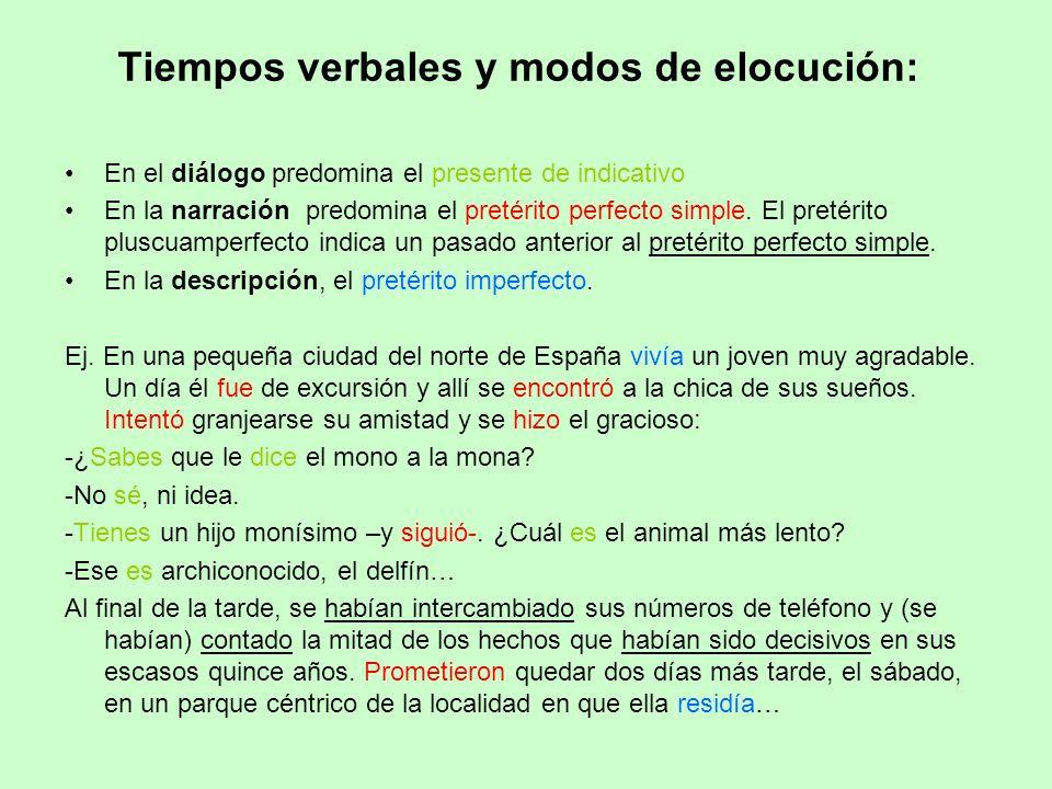 Tiempos verbales y modos de elocución: