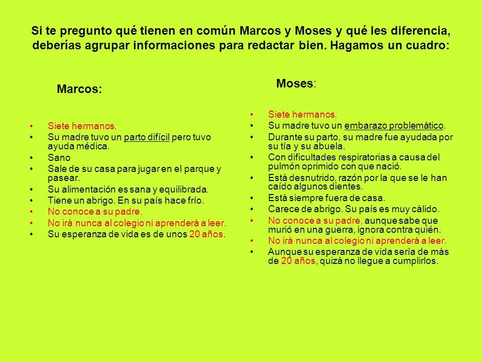 Si te pregunto qué tienen en común Marcos y Moses y qué les diferencia, deberías agrupar informaciones para redactar bien. Hagamos un cuadro:
