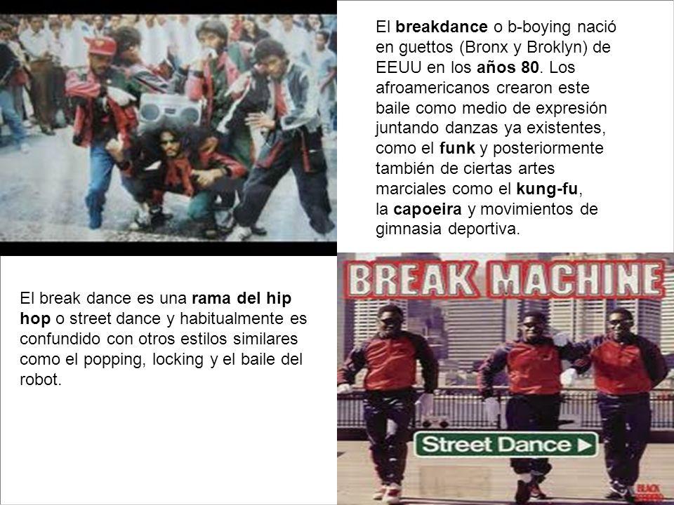 El breakdance o b-boying nació en guettos (Bronx y Broklyn) de EEUU en los años 80. Los afroamericanos crearon este baile como medio de expresión juntando danzas ya existentes, como el funk y posteriormente también de ciertas artes marciales como el kung-fu, la capoeira y movimientos de gimnasia deportiva.
