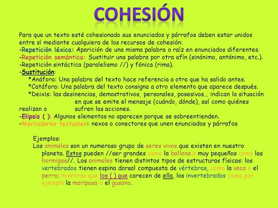 COHESIÓNPara que un texto esté cohesionado sus enunciados y párrafos deben estar unidos entre sí mediante cualquiera de los recursos de cohesión:
