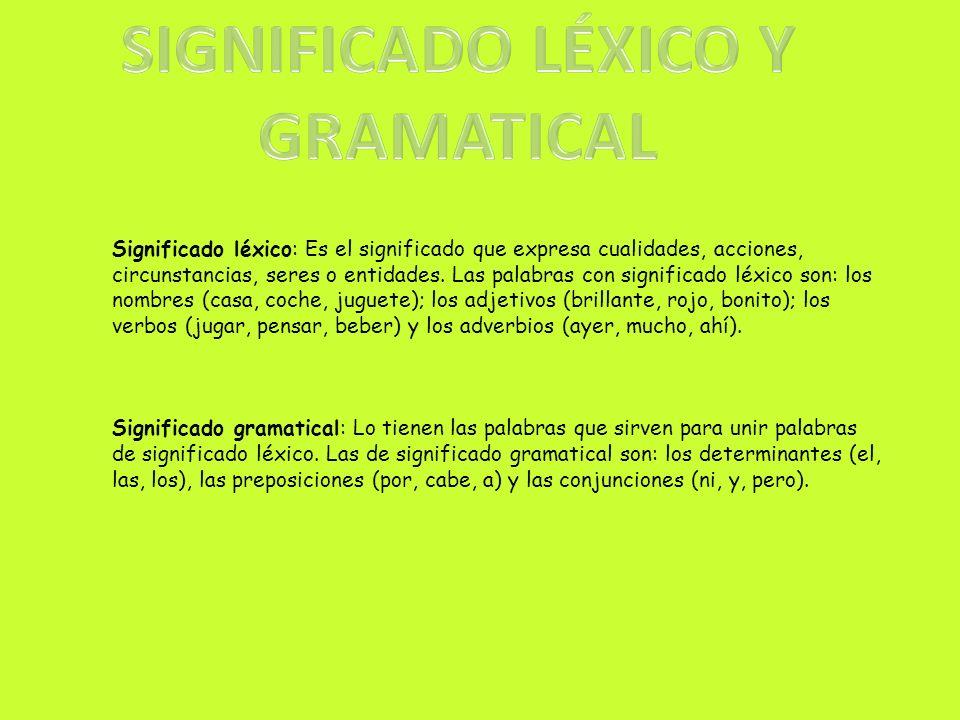 SIGNIFICADO LÉXICO Y GRAMATICAL