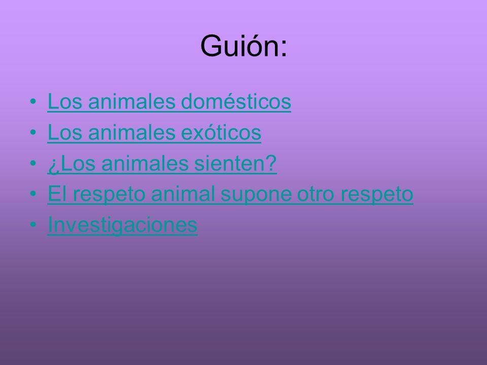 Guión: Los animales domésticos Los animales exóticos