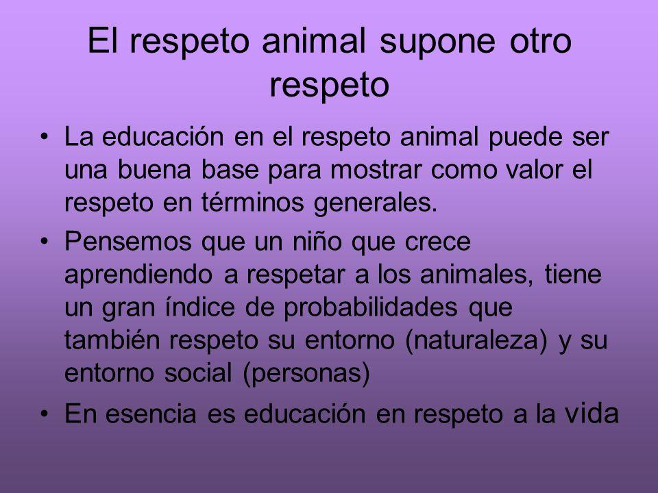 El respeto animal supone otro respeto