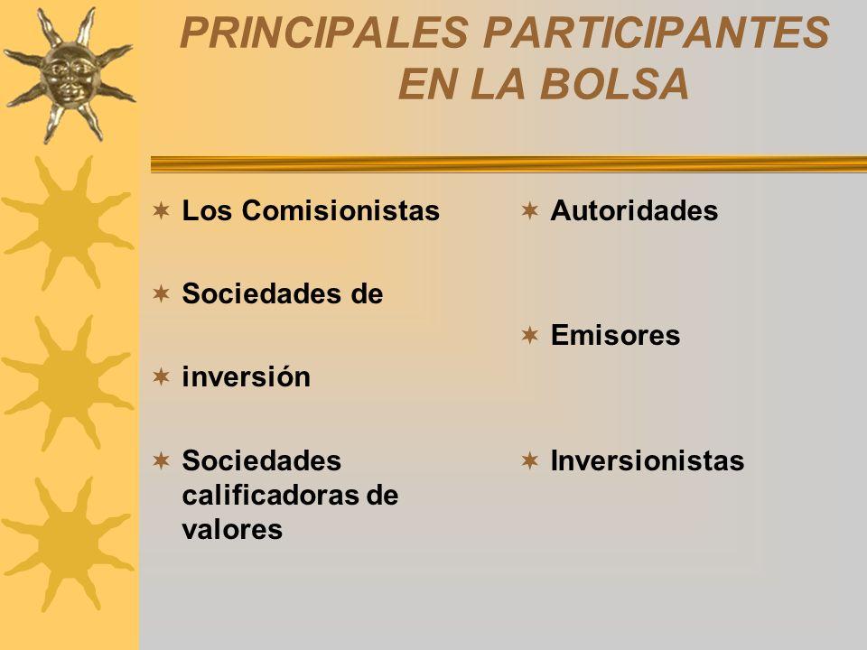 PRINCIPALES PARTICIPANTES EN LA BOLSA