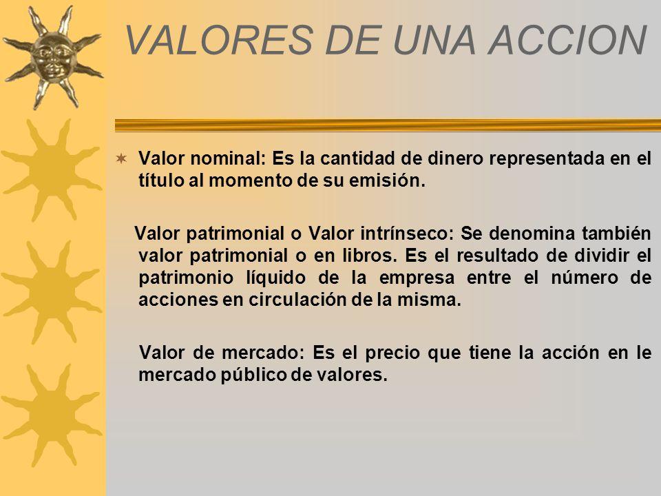 VALORES DE UNA ACCION Valor nominal: Es la cantidad de dinero representada en el título al momento de su emisión.