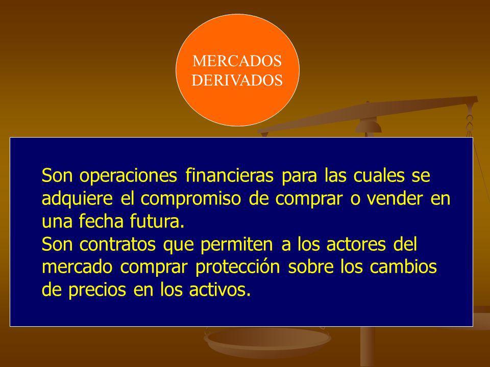 MERCADOSDERIVADOS. Son operaciones financieras para las cuales se adquiere el compromiso de comprar o vender en una fecha futura.