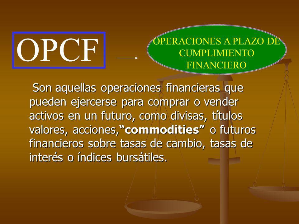 OPERACIONES A PLAZO DE CUMPLIMIENTO FINANCIERO