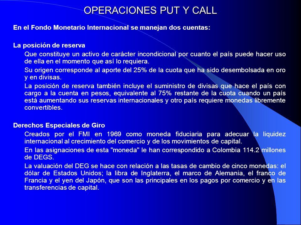 OPERACIONES PUT Y CALL En el Fondo Monetario Internacional se manejan dos cuentas: La posición de reserva.