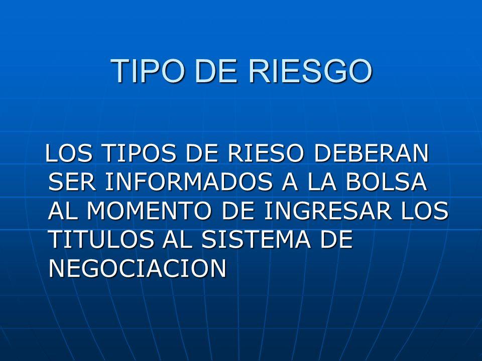 TIPO DE RIESGO LOS TIPOS DE RIESO DEBERAN SER INFORMADOS A LA BOLSA AL MOMENTO DE INGRESAR LOS TITULOS AL SISTEMA DE NEGOCIACION.