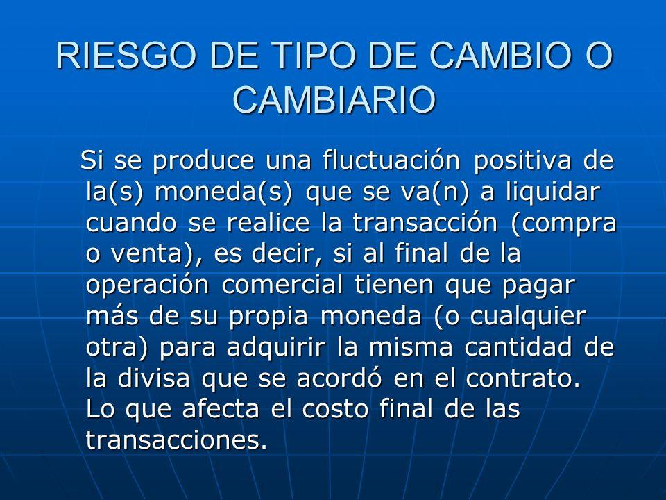 RIESGO DE TIPO DE CAMBIO O CAMBIARIO