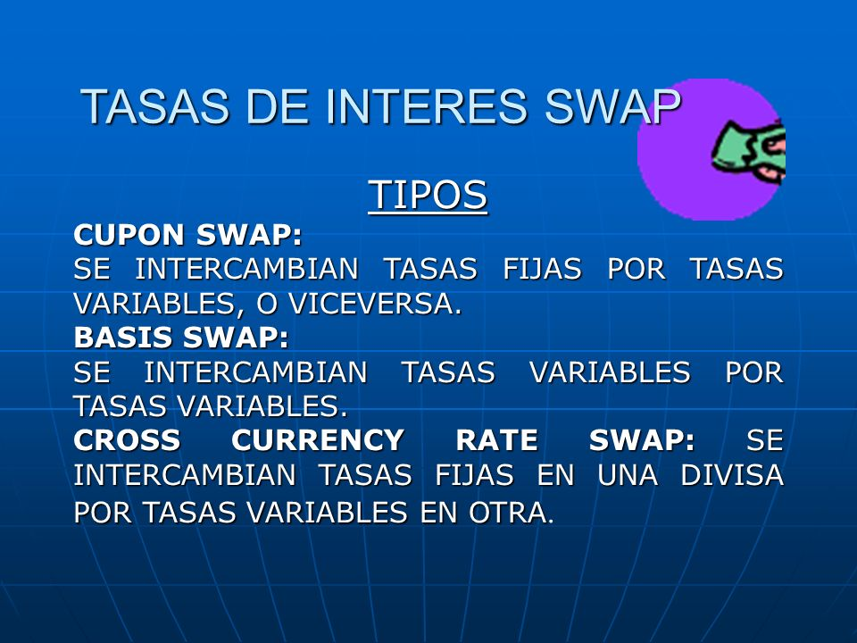 TASAS DE INTERES SWAP TIPOS CUPON SWAP: