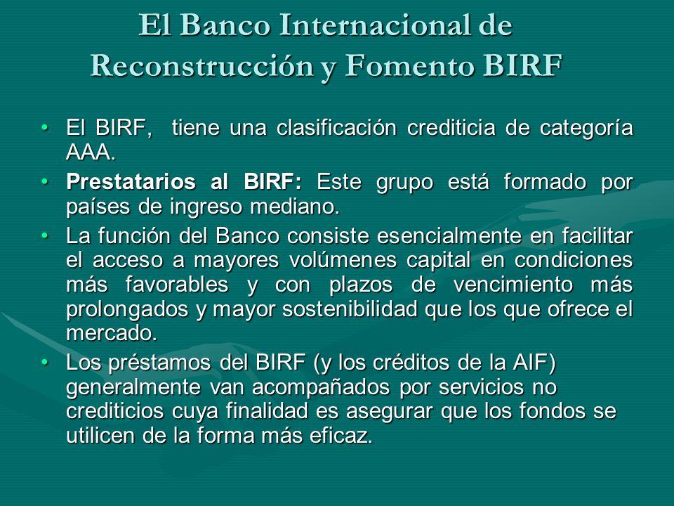 El Banco Internacional de Reconstrucción y Fomento BIRF