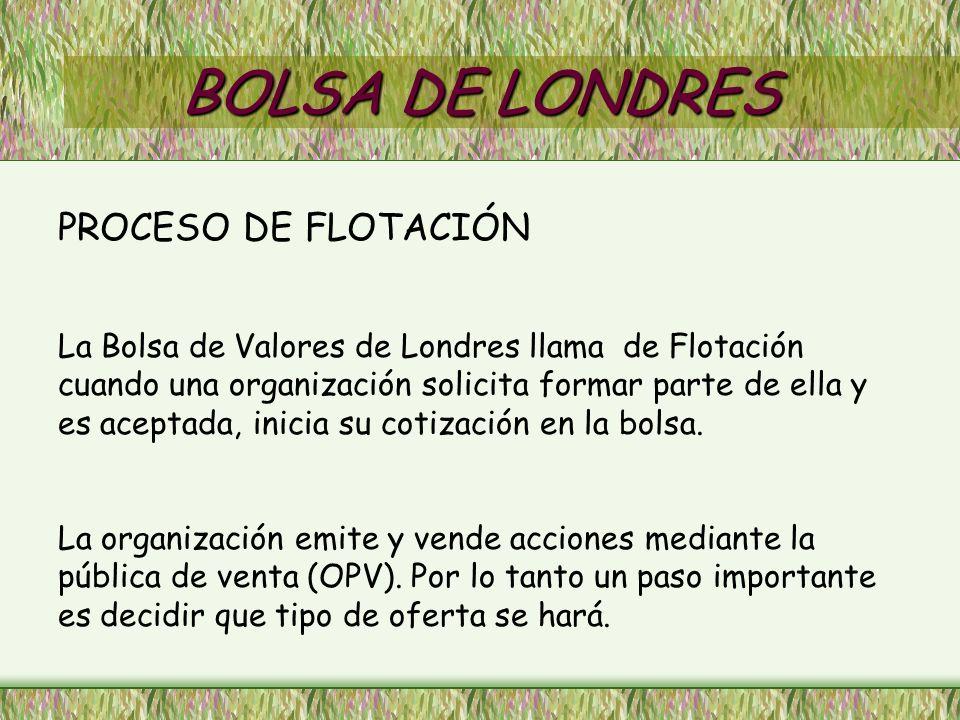 BOLSA DE LONDRES PROCESO DE FLOTACIÓN