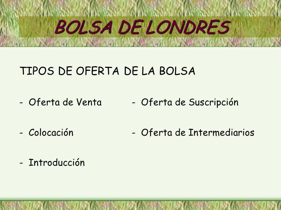 BOLSA DE LONDRES TIPOS DE OFERTA DE LA BOLSA