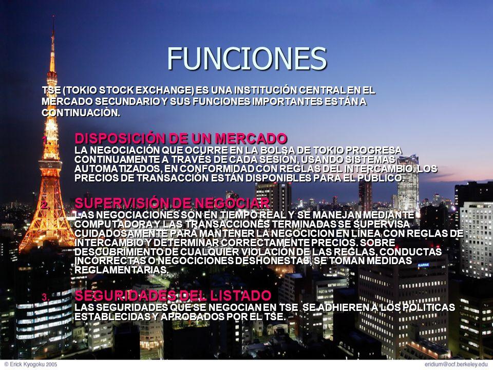 FUNCIONESTSE (TOKIO STOCK EXCHANGE) ES UNA INSTITUCIÓN CENTRAL EN EL. MERCADO SECUNDARIO Y SUS FUNCIONES IMPORTANTES ESTÁN A.