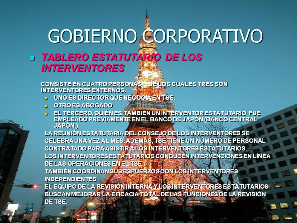 GOBIERNO CORPORATIVO TABLERO ESTATUTARIO DE LOS INTERVENTORES