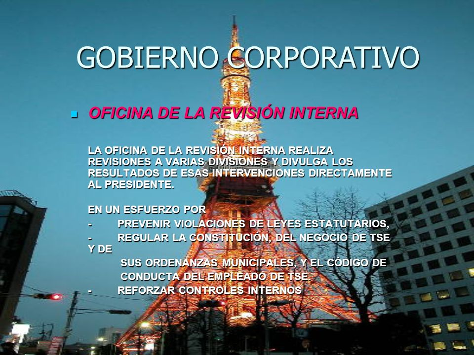 GOBIERNO CORPORATIVO OFICINA DE LA REVISIÓN INTERNA