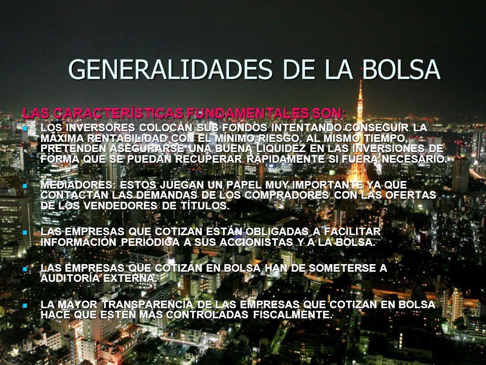 GENERALIDADES DE LA BOLSA