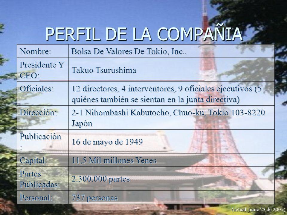 PERFIL DE LA COMPAÑIA Bolsa De Valores De Tokio, Inc.. Nombre: