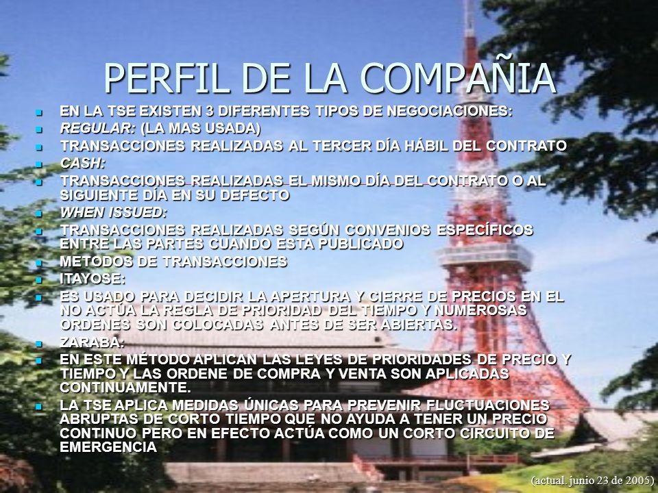 PERFIL DE LA COMPAÑIA EN LA TSE EXISTEN 3 DIFERENTES TIPOS DE NEGOCIACIONES: REGULAR: (LA MAS USADA)