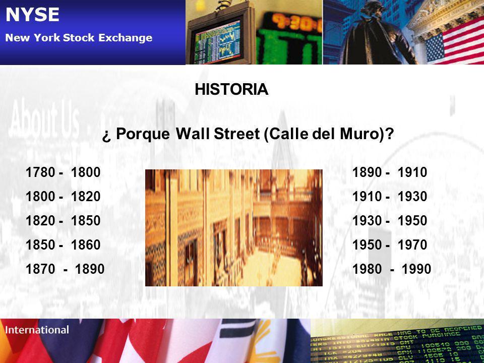 NYSE HISTORIA ¿ Porque Wall Street (Calle del Muro) - 1800 - 1820