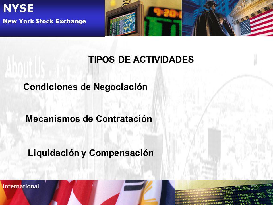 NYSE TIPOS DE ACTIVIDADES Condiciones de Negociación