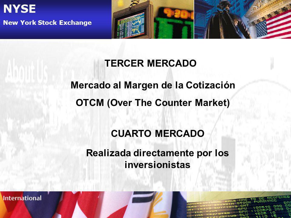 NYSE TERCER MERCADO Mercado al Margen de la Cotización