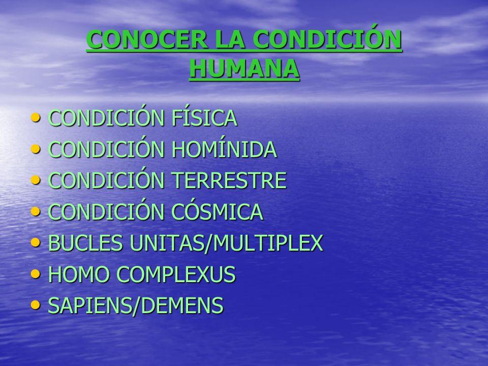 CONOCER LA CONDICIÓN HUMANA