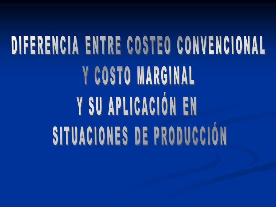 DIFERENCIA ENTRE COSTEO CONVENCIONAL Y COSTO MARGINAL