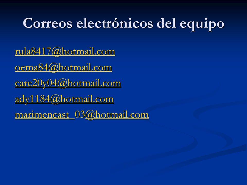 Correos electrónicos del equipo