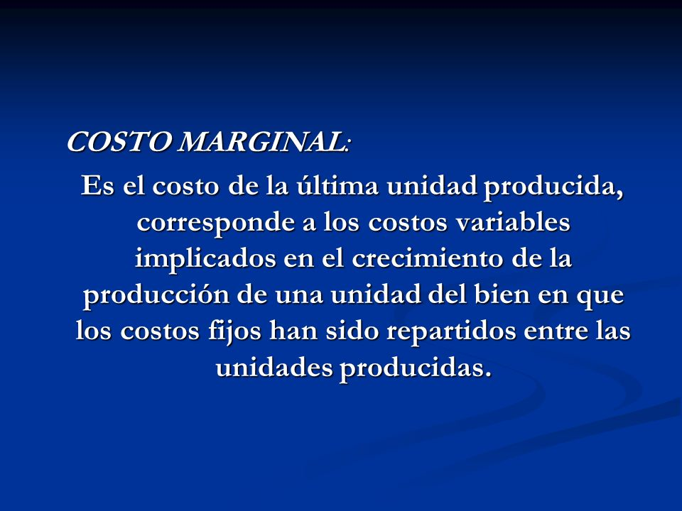 COSTO MARGINAL: