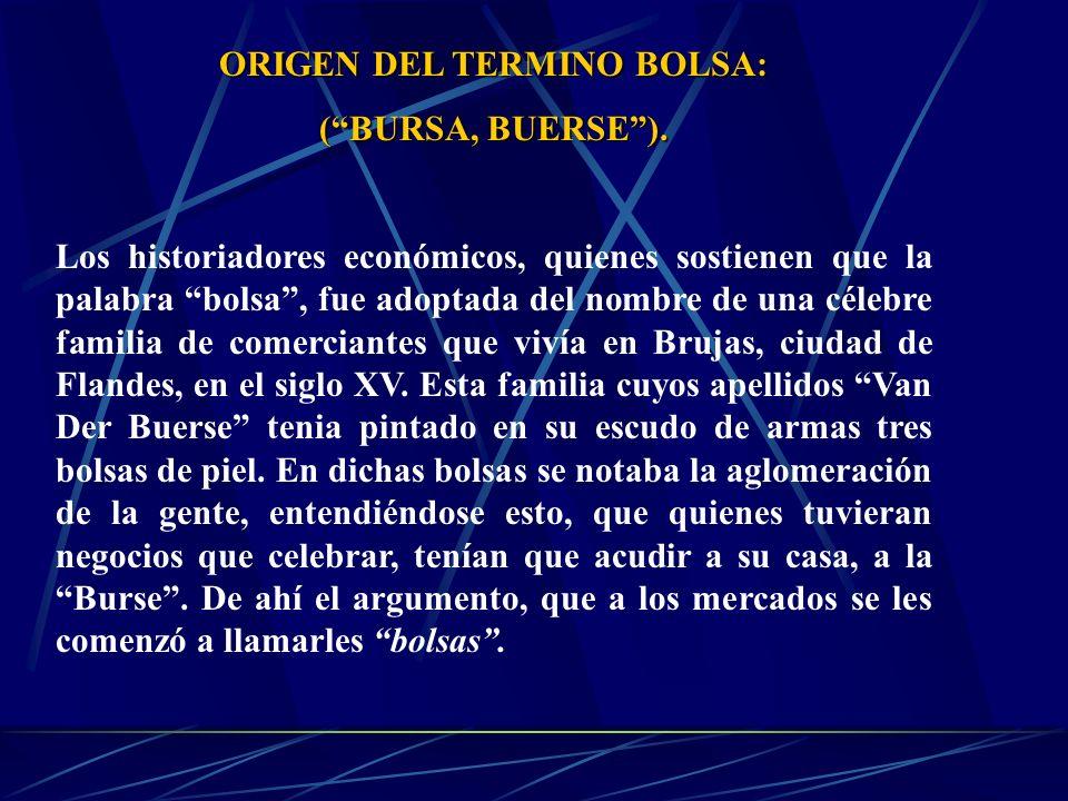 ORIGEN DEL TERMINO BOLSA: