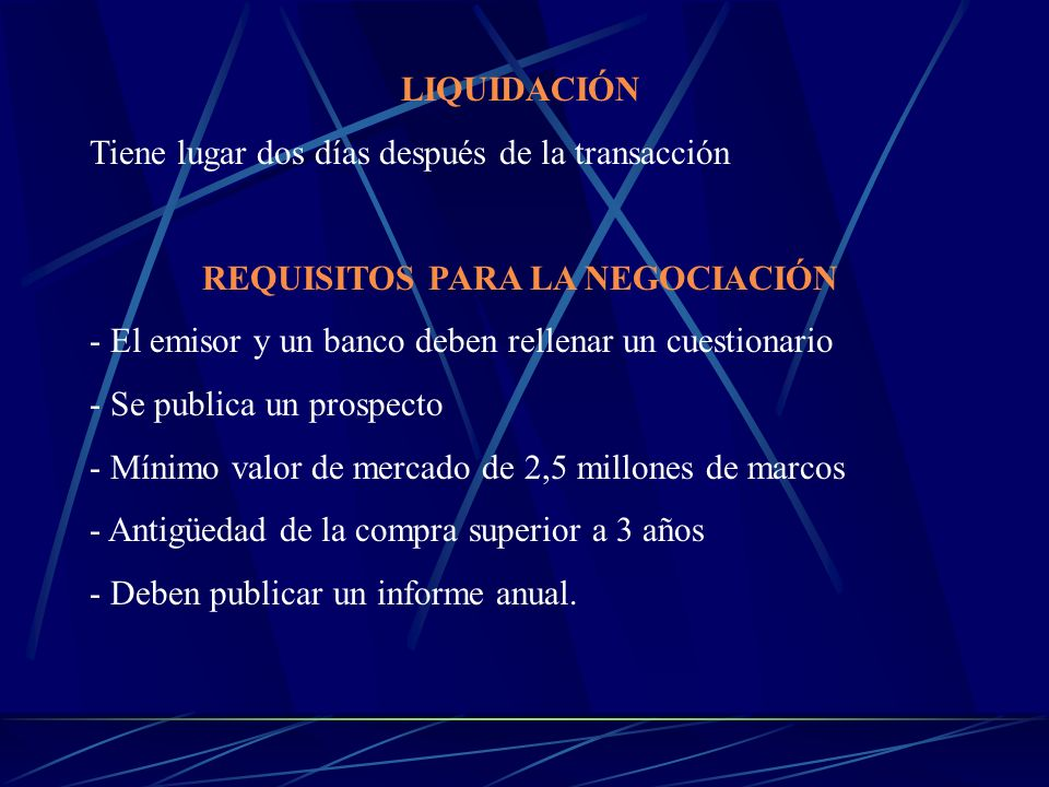 REQUISITOS PARA LA NEGOCIACIÓN