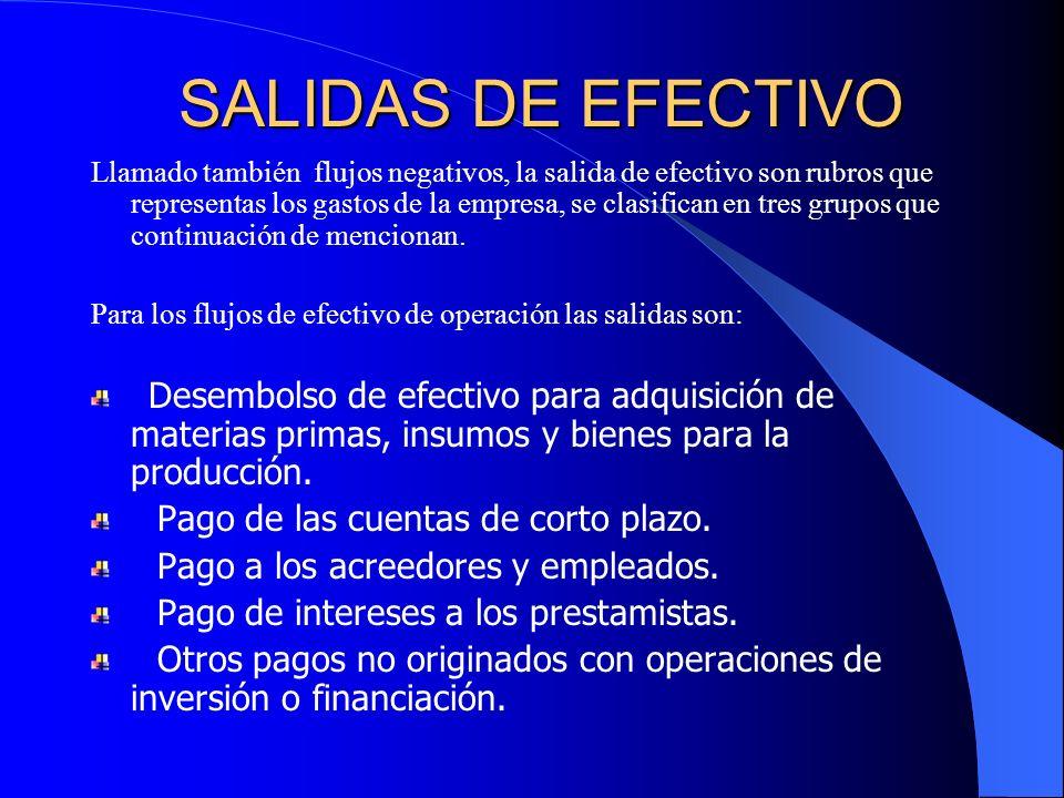 SALIDAS DE EFECTIVO