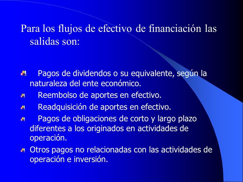 Para los flujos de efectivo de financiación las salidas son: