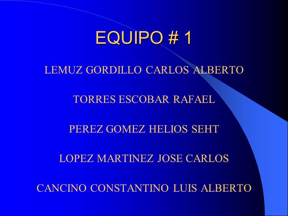 EQUIPO # 1 LEMUZ GORDILLO CARLOS ALBERTO TORRES ESCOBAR RAFAEL
