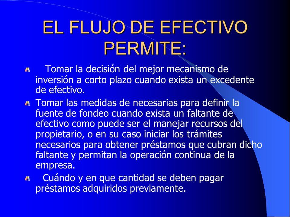 EL FLUJO DE EFECTIVO PERMITE: