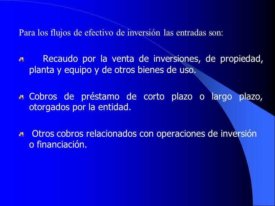 Para los flujos de efectivo de inversión las entradas son: