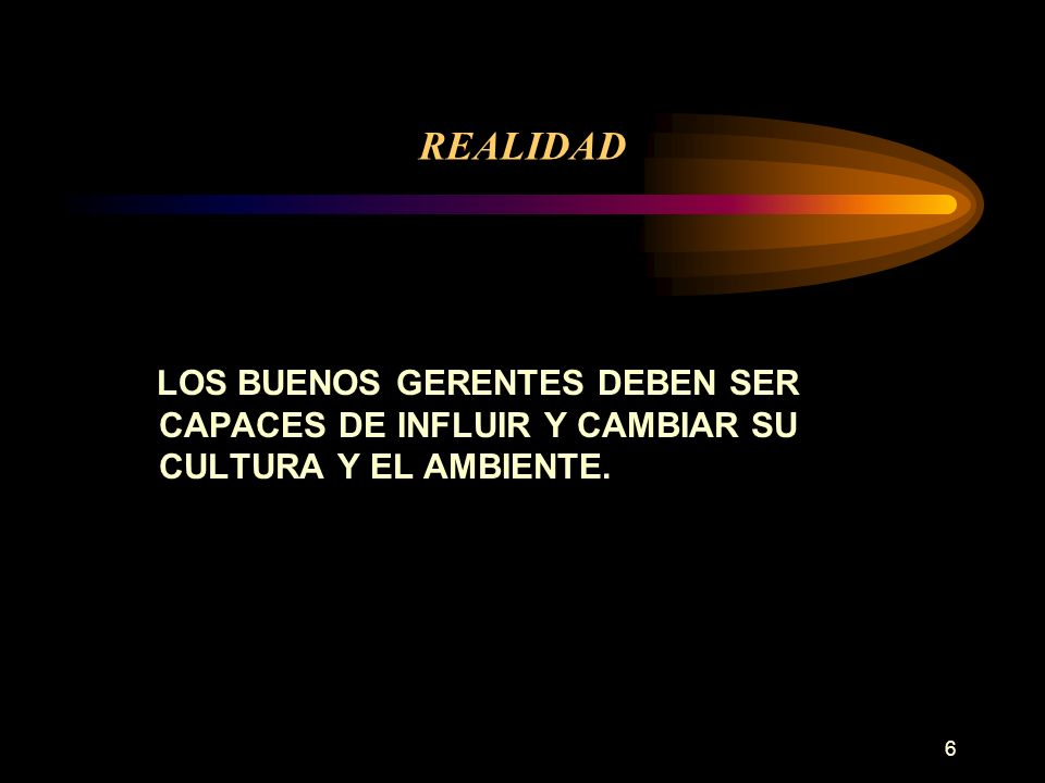 REALIDAD LOS BUENOS GERENTES DEBEN SER CAPACES DE INFLUIR Y CAMBIAR SU CULTURA Y EL AMBIENTE.