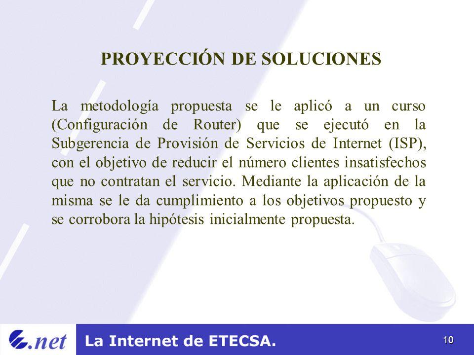 PROYECCIÓN DE SOLUCIONES