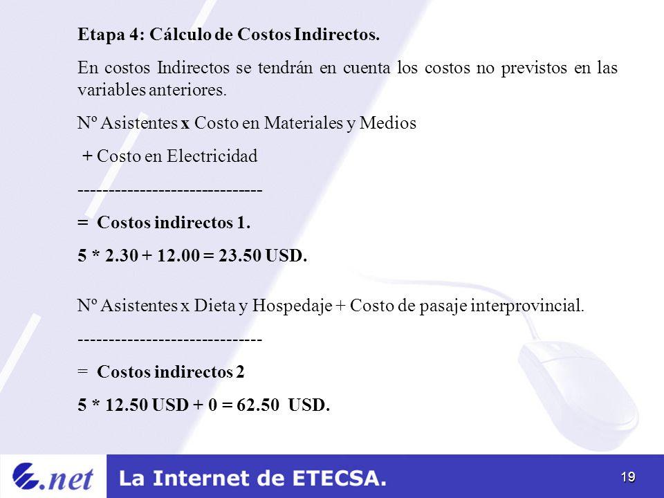 Etapa 4: Cálculo de Costos Indirectos.