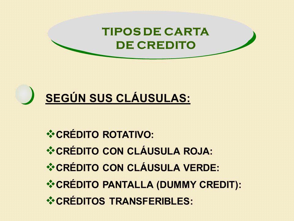 TIPOS DE CARTA DE CREDITO