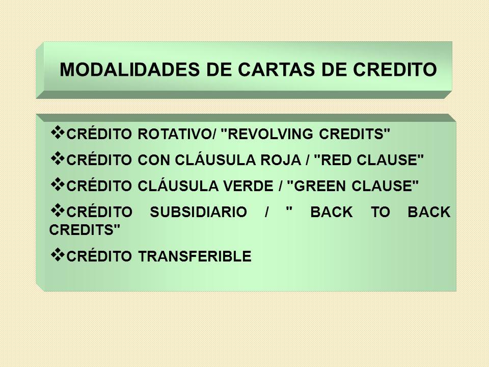 MODALIDADES DE CARTAS DE CREDITO